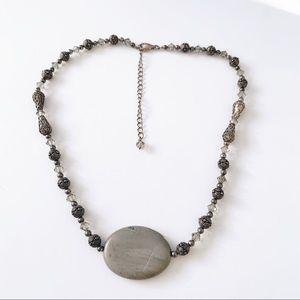Gemstone Gray Jasper Slab Beaded Necklace